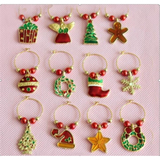 12 Pack Christmas Creatures Wine Glass Charm Set