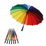 16 Ribs Auto Open Rainbow Umbrella