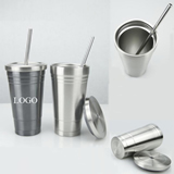17oz/500ml Double Wall Insulated Cup With Straw