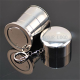 5 Oz. Stainless Steel Folding Travel Water Cup Keychain