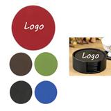 Achiever Set of 6 Leather Coasters w/ Molded Base
