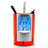 Electronic Pen Holder with Clock