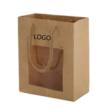 Natural Kraft Paper Shopper Tote Bag With Transparent Window