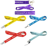 Polyester lanyard with metal clip